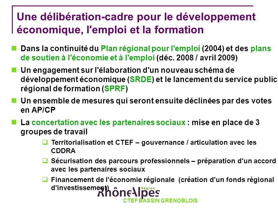 Une délibération-cadre pour le développement économique, l emploi et la formation Dans la continuité du Plan régional pour l emploi (2004) et des plans de soutien à l économie et à l emploi (déc.