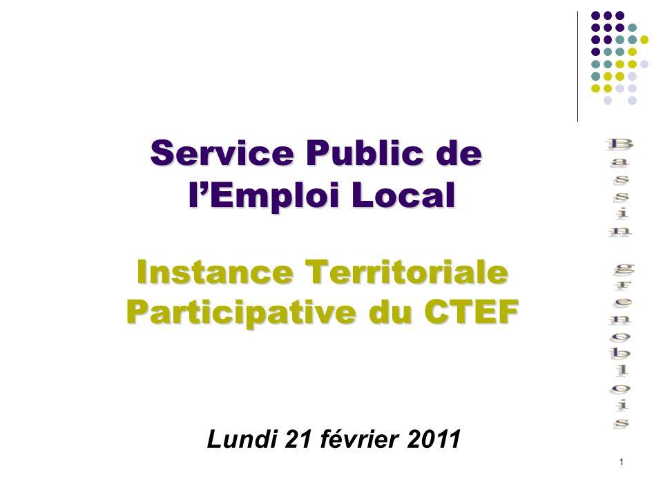 1 Service Public de lEmploi Local Instance Territoriale Participative du CTEF Lundi 21 février 2011
