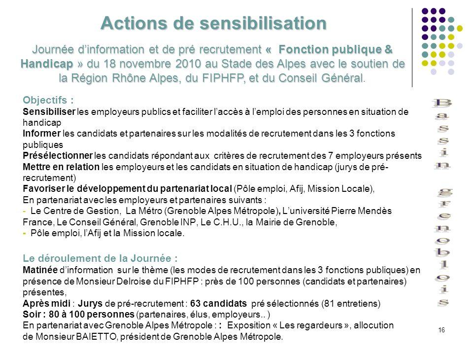 16 Actions de sensibilisation Objectifs : Sensibiliser les employeurs publics et faciliter laccès à lemploi des personnes en situation de handicap Inf
