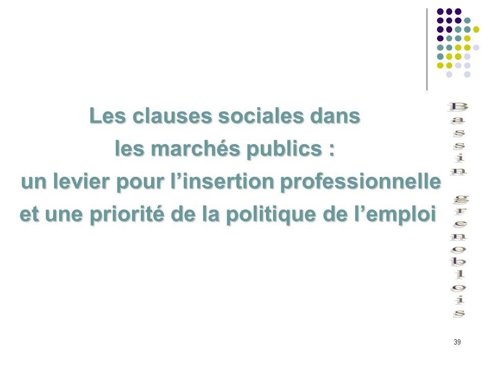 39 Les clauses sociales dans les marchés publics : un levier pour linsertion professionnelle un levier pour linsertion professionnelle et une priorité