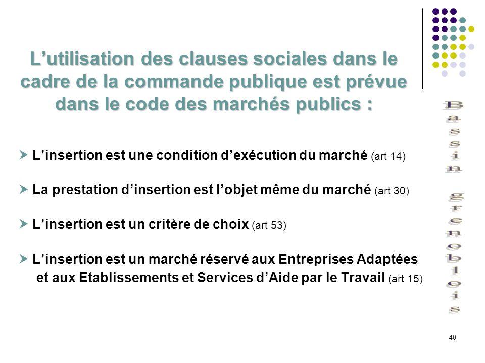 40 Lutilisation des clauses sociales dans le cadre de la commande publique est prévue dans le code des marchés publics : Linsertion est une condition