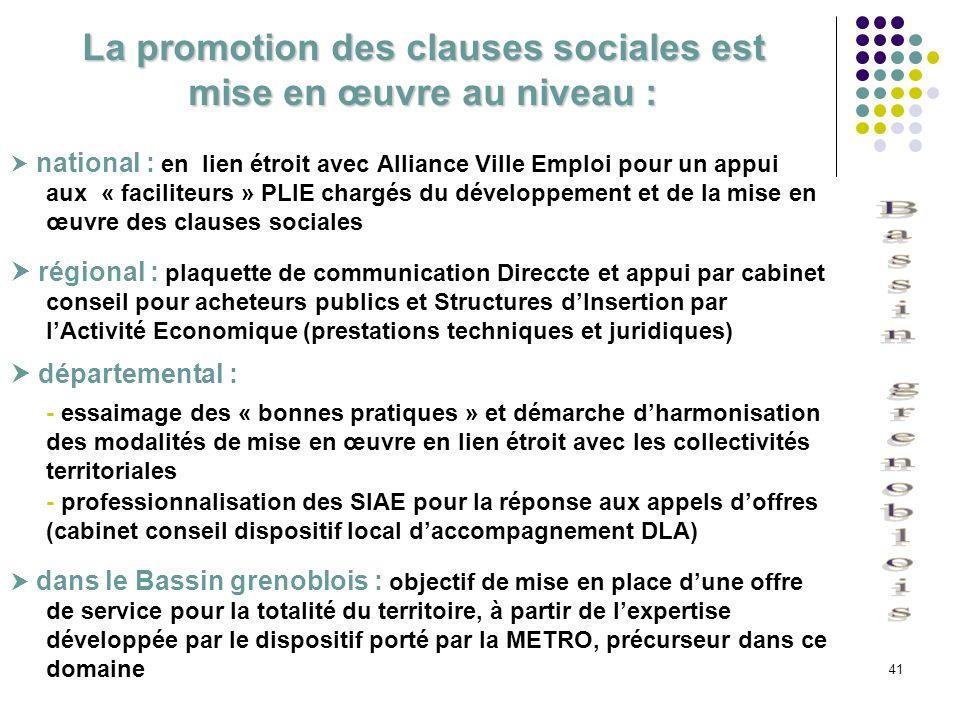 41 La promotion des clauses sociales est mise en œuvre au niveau : national : en lien étroit avec Alliance Ville Emploi pour un appui aux « faciliteur
