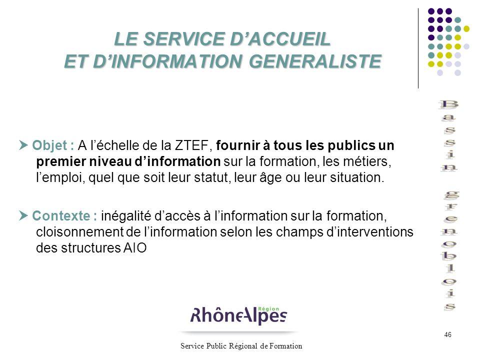 46 LE SERVICE DACCUEIL ET DINFORMATION GENERALISTE Objet : A léchelle de la ZTEF, fournir à tous les publics un premier niveau dinformation sur la for