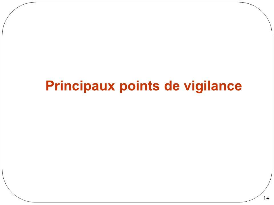 14 Principaux points de vigilance