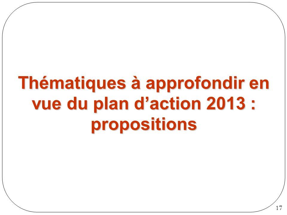 17 Thématiques à approfondir en vue du plan daction 2013 : propositions