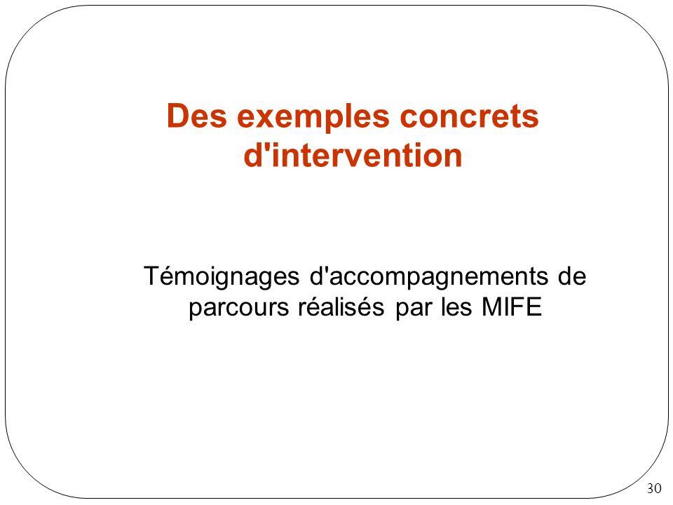 30 Des exemples concrets d'intervention Témoignages d'accompagnements de parcours réalisés par les MIFE