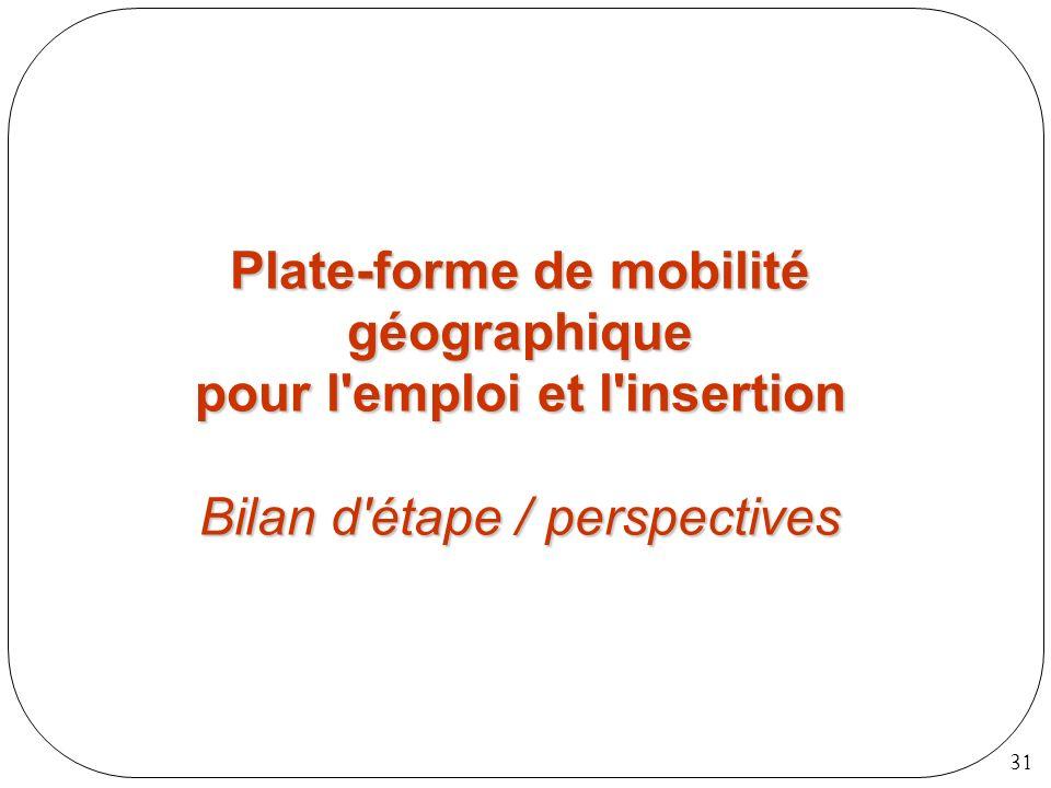 31 Plate-forme de mobilité géographique pour l'emploi et l'insertion Bilan d'étape / perspectives