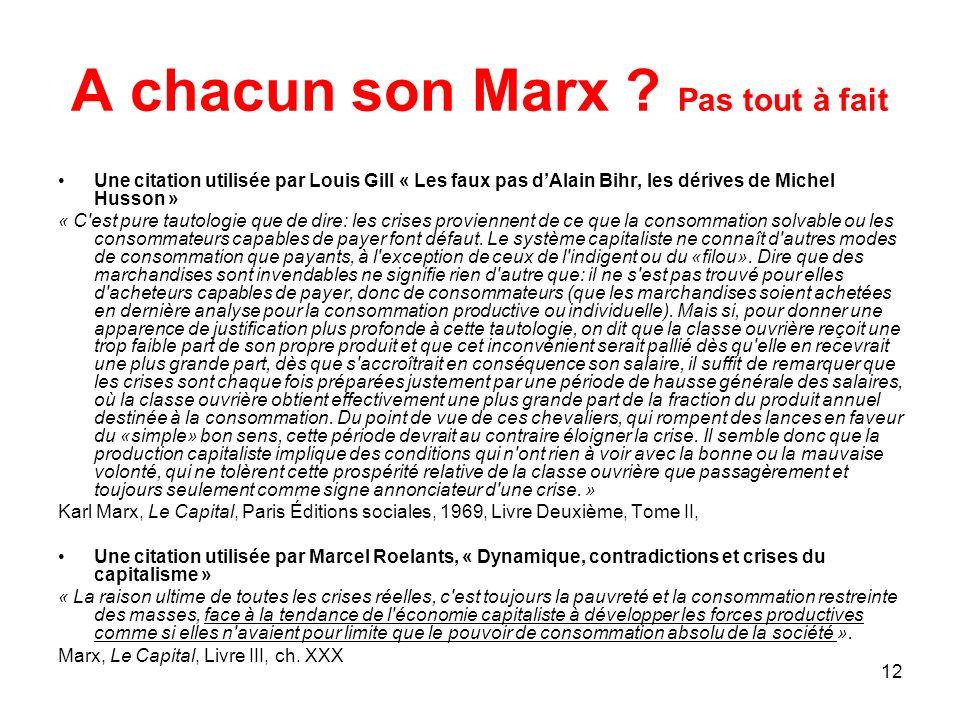 12 A chacun son Marx ? Pas tout à fait Une citation utilisée par Louis Gill « Les faux pas dAlain Bihr, les dérives de Michel Husson » « C'est pure ta