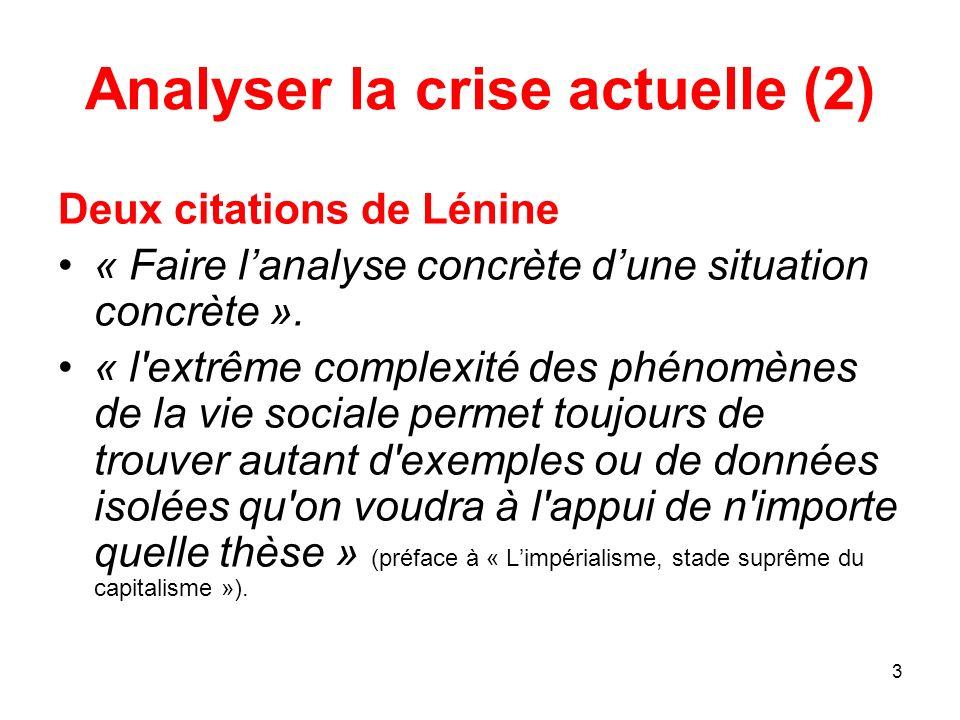 3 Analyser la crise actuelle (2) Deux citations de Lénine « Faire lanalyse concrète dune situation concrète ». « l'extrême complexité des phénomènes d
