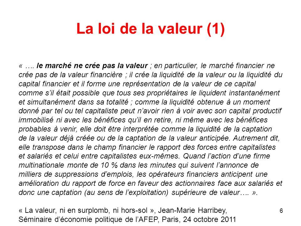 6 La loi de la valeur (1) « …. le marché ne crée pas la valeur ; en particulier, le marché financier ne crée pas de la valeur financière ; il crée la