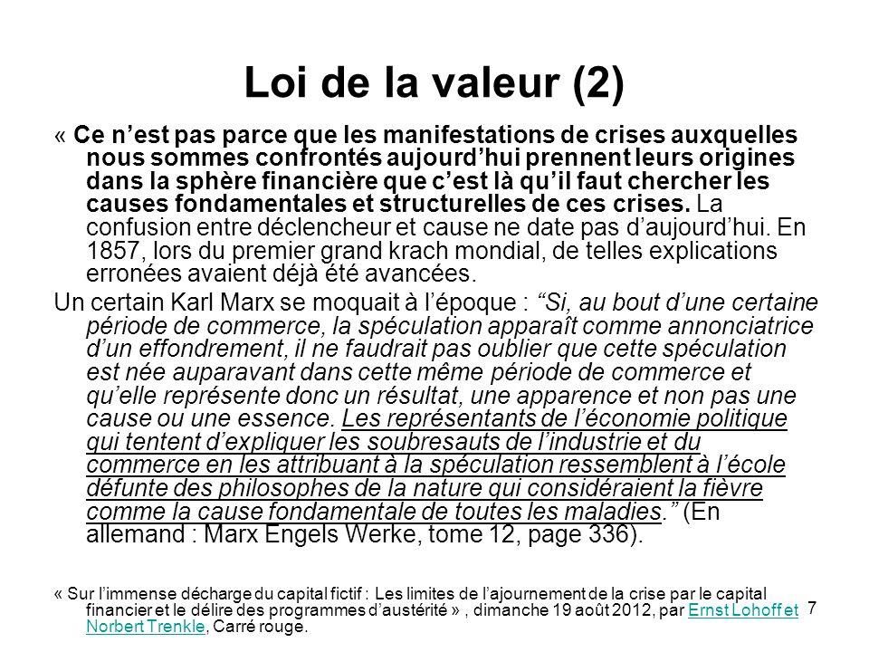 7 Loi de la valeur (2) « Ce nest pas parce que les manifestations de crises auxquelles nous sommes confrontés aujourdhui prennent leurs origines dans