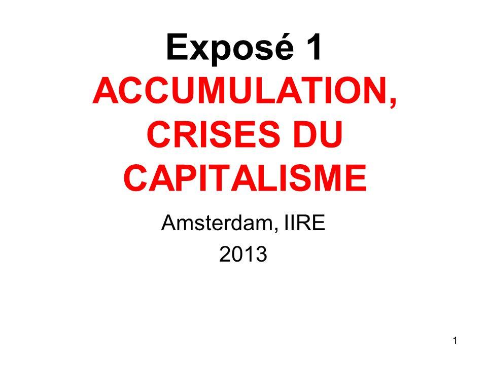 1 Exposé 1 ACCUMULATION, CRISES DU CAPITALISME Amsterdam, IIRE 2013 1