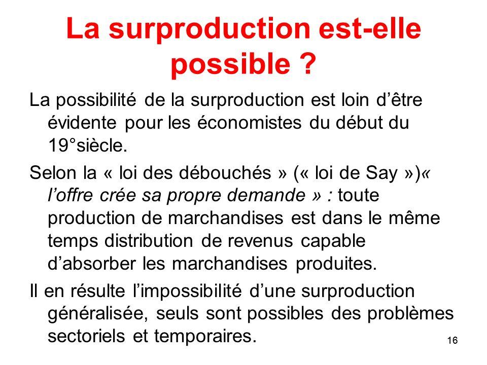 16 La surproduction est-elle possible ? La possibilité de la surproduction est loin dêtre évidente pour les économistes du début du 19°siècle. Selon l