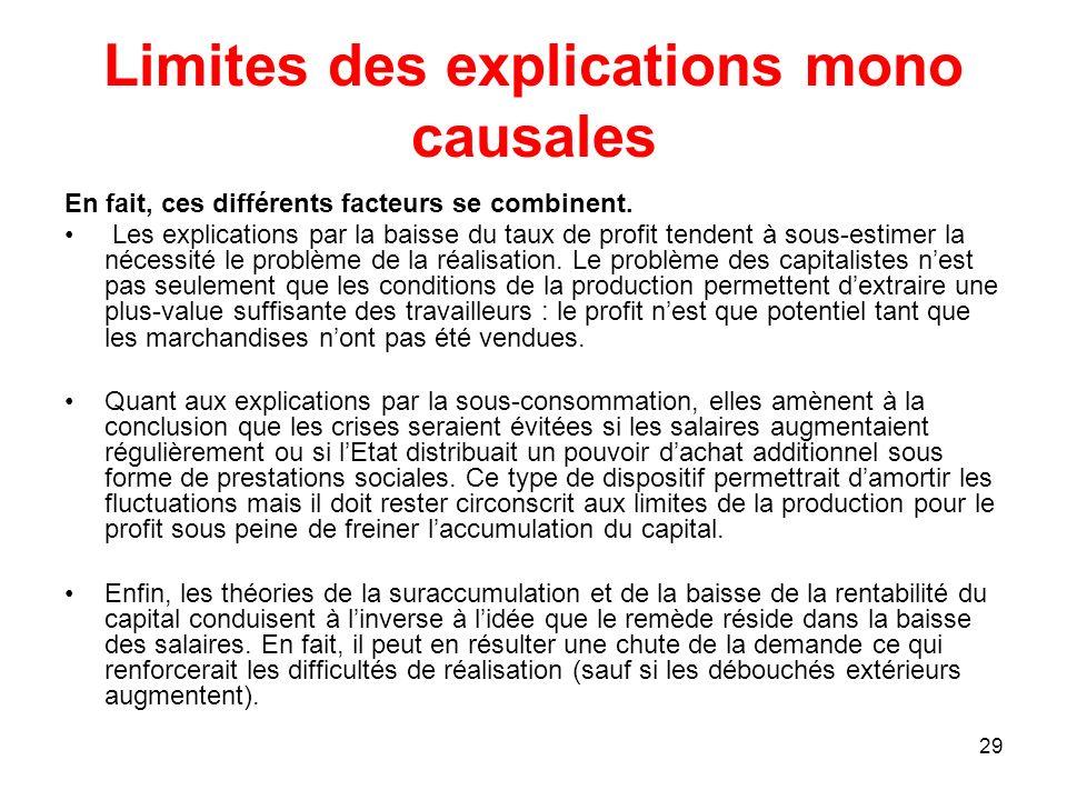 29 Limites des explications mono causales En fait, ces différents facteurs se combinent. Les explications par la baisse du taux de profit tendent à so