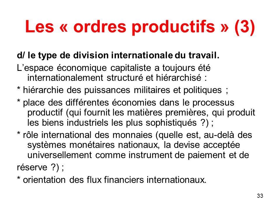 33 Les « ordres productifs » (3) d/ le type de division internationale du travail. Lespace économique capitaliste a toujours été internationalement st