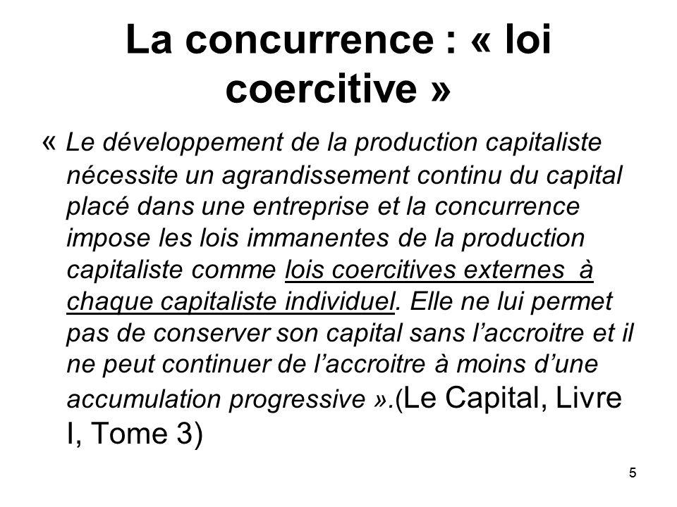 5 La concurrence : « loi coercitive » « Le développement de la production capitaliste nécessite un agrandissement continu du capital placé dans une en