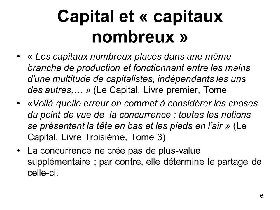 6 Capital et « capitaux nombreux » « Les capitaux nombreux placés dans une même branche de production et fonctionnant entre les mains d'une multitude