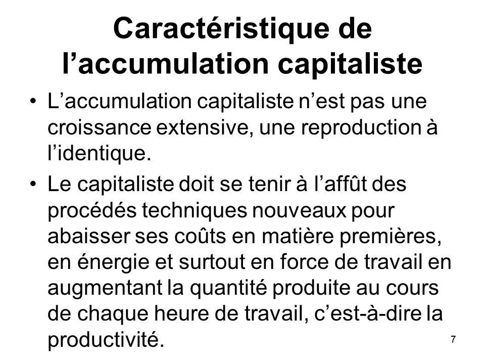 7 Caractéristique de laccumulation capitaliste Laccumulation capitaliste nest pas une croissance extensive, une reproduction à lidentique. Le capitali