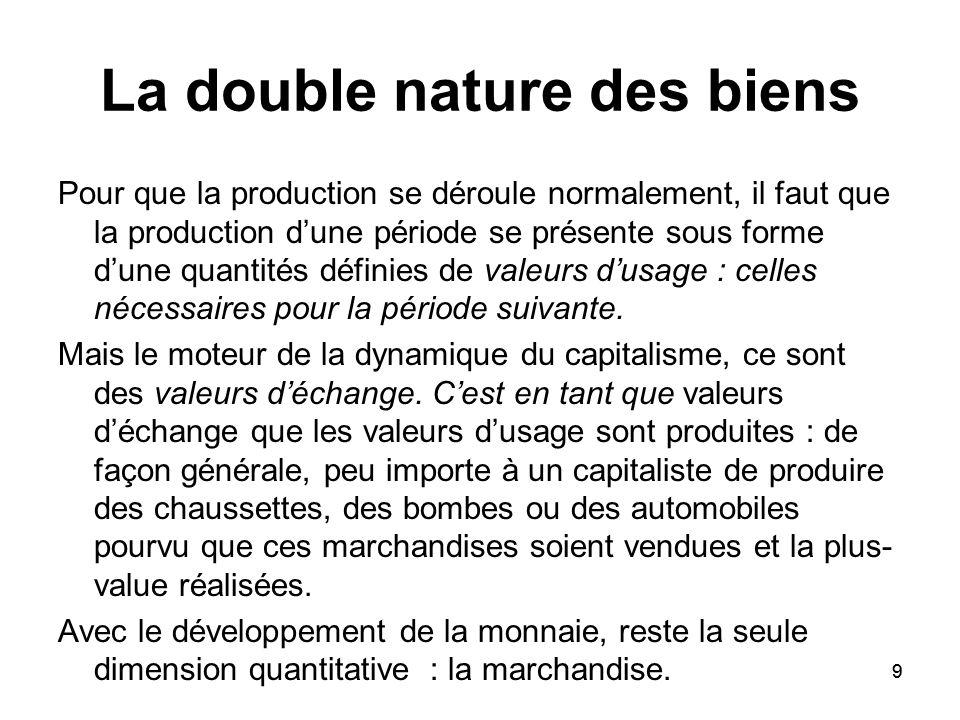 9 La double nature des biens Pour que la production se déroule normalement, il faut que la production dune période se présente sous forme dune quantit