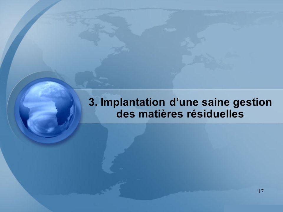 17 3. Implantation dune saine gestion des matières résiduelles