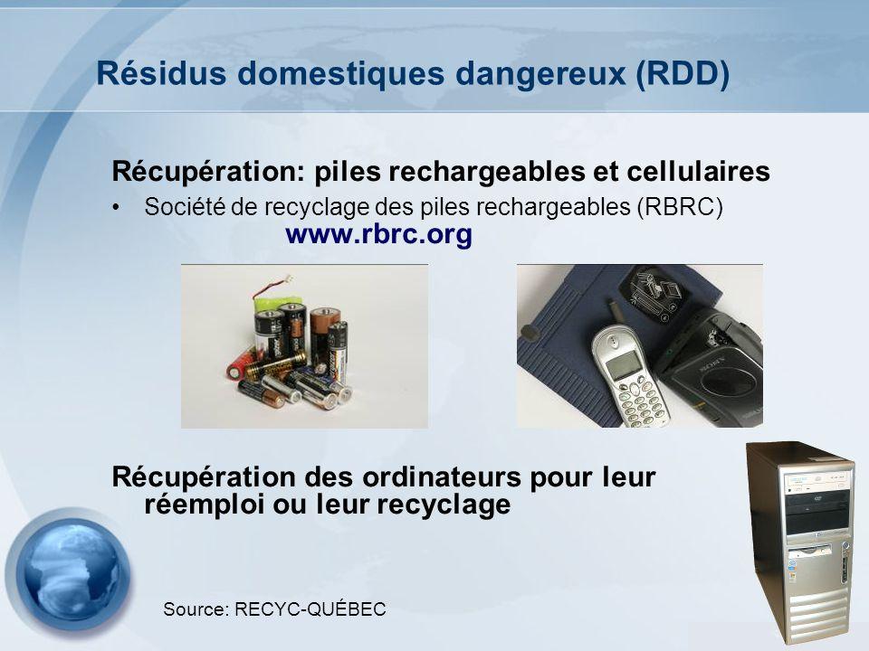 32 Résidus domestiques dangereux (RDD) Récupération: piles rechargeables et cellulaires Société de recyclage des piles rechargeables (RBRC) www.rbrc.o