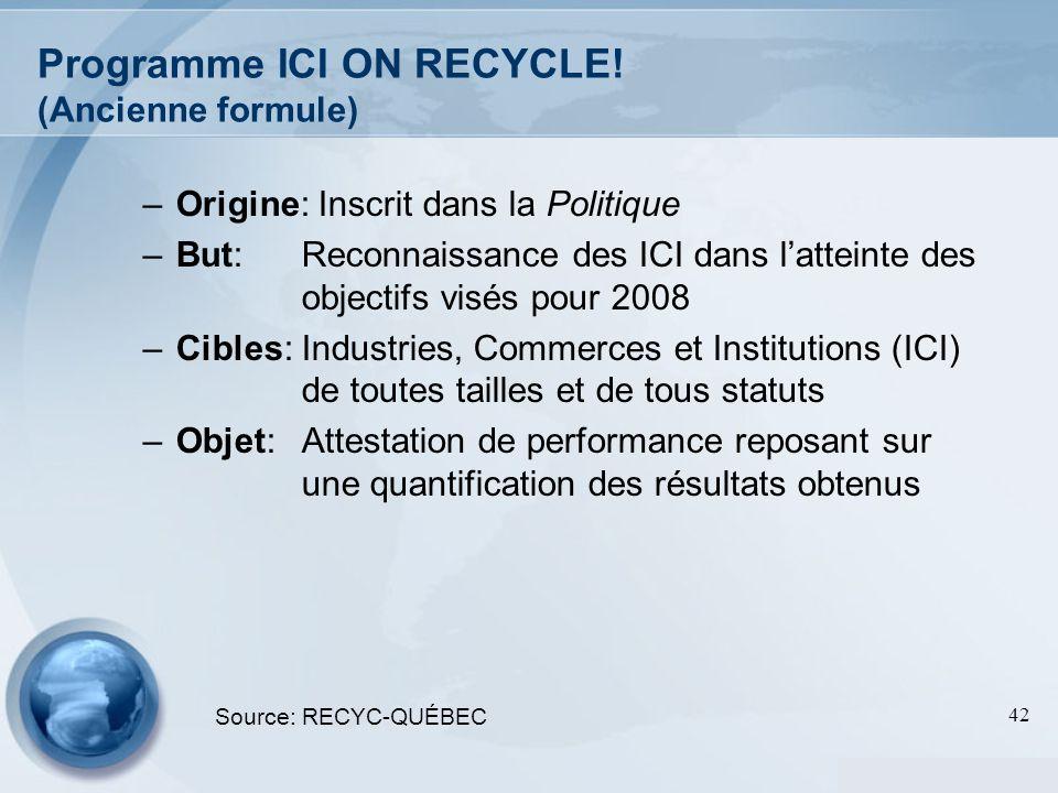 42 Programme ICI ON RECYCLE! (Ancienne formule) –Origine: Inscrit dans la Politique –But:Reconnaissance des ICI dans latteinte des objectifs visés pou