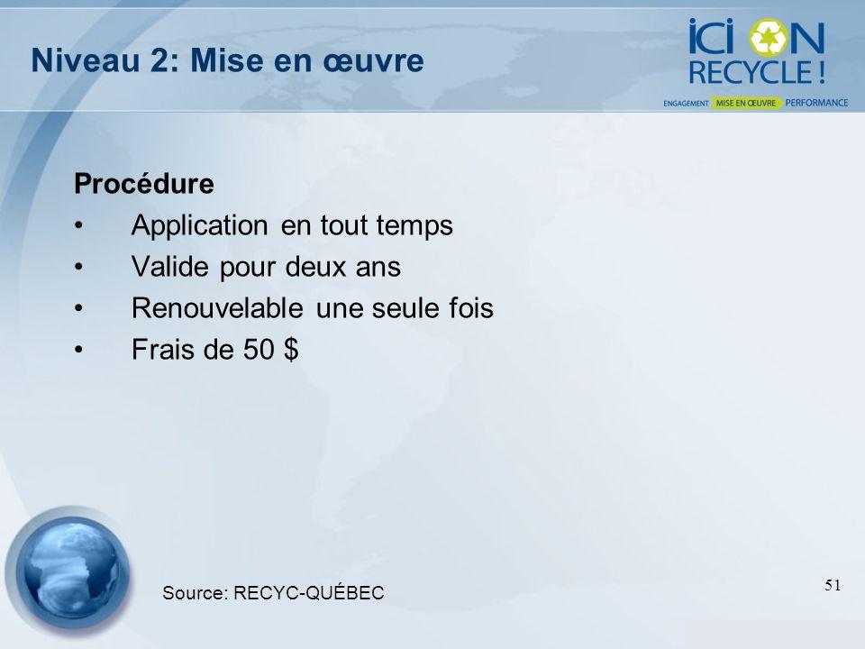 51 Niveau 2: Mise en œuvre Procédure Application en tout temps Valide pour deux ans Renouvelable une seule fois Frais de 50 $ Source: RECYC-QUÉBEC