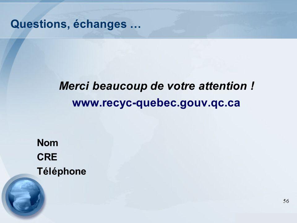 56 Questions, échanges … Merci beaucoup de votre attention ! www.recyc-quebec.gouv.qc.ca Nom CRE Téléphone