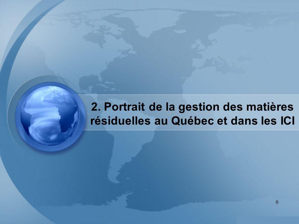 6 2. Portrait de la gestion des matières résiduelles au Québec et dans les ICI