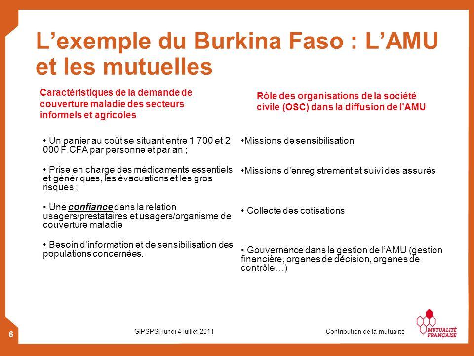 6 GIPSPSI lundi 4 juillet 2011 Contribution de la mutualité Lexemple du Burkina Faso : LAMU et les mutuelles Un panier au coût se situant entre 1 700