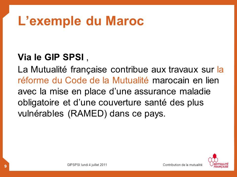 9 GIPSPSI lundi 4 juillet 2011 Contribution de la mutualité Lexemple du Maroc Via le GIP SPSI, La Mutualité française contribue aux travaux sur la réf