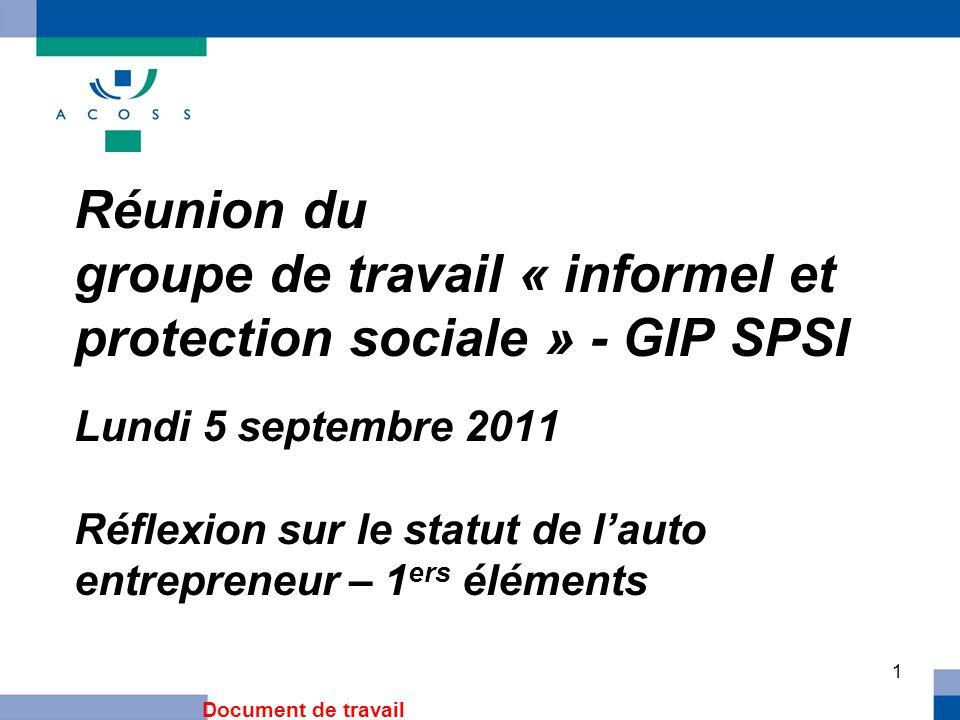 1 Réunion du groupe de travail « informel et protection sociale » - GIP SPSI Lundi 5 septembre 2011 Réflexion sur le statut de lauto entrepreneur – 1 ers éléments Document de travail