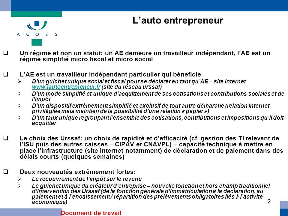 2 Lauto entrepreneur Un régime et non un statut: un AE demeure un travailleur indépendant, lAE est un régime simplifié micro fiscal et micro social LA