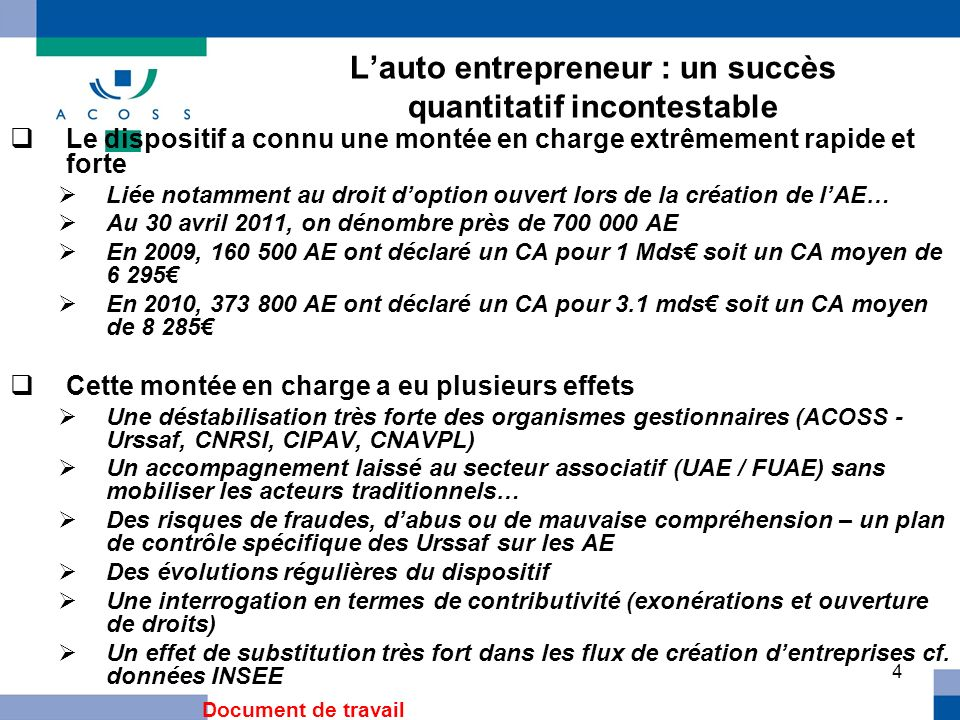 5 Lauto entrepreneur : premiers constats Les limites du dispositif Une faible intégration des obligations liées au régime cf.