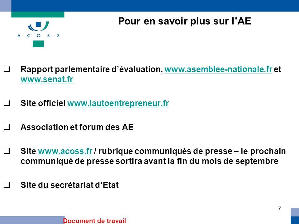 7 Pour en savoir plus sur lAE Rapport parlementaire dévaluation, www.asemblee-nationale.fr et www.senat.frwww.asemblee-nationale.fr www.senat.fr Site