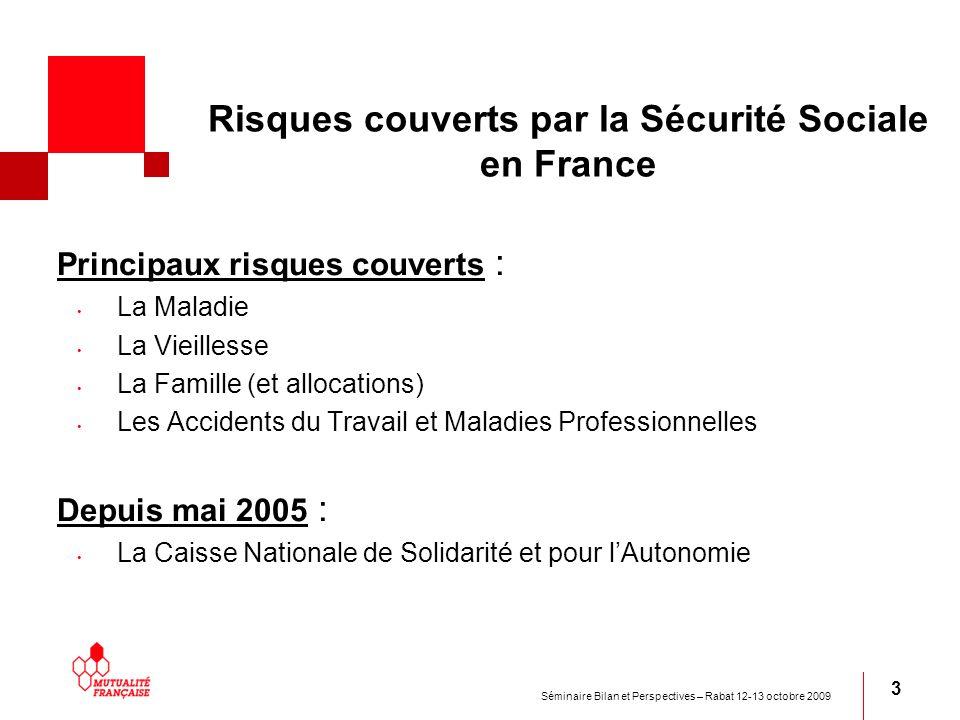 Séminaire Bilan et Perspectives – Rabat 12-13 octobre 2009 3 Risques couverts par la Sécurité Sociale en France Principaux risques couverts : La Malad