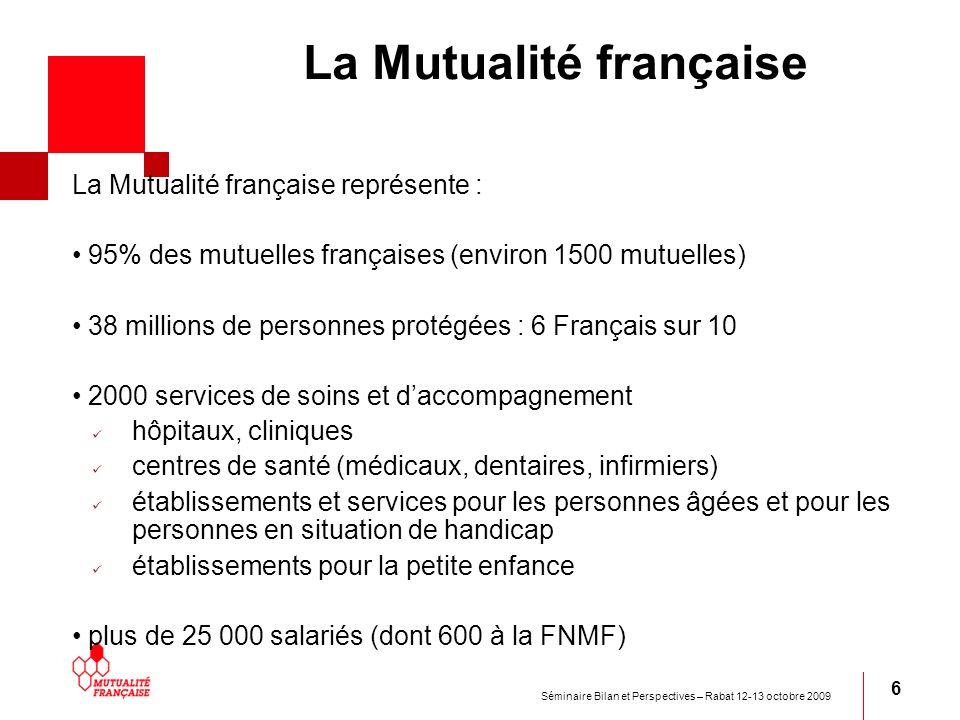 Séminaire Bilan et Perspectives – Rabat 12-13 octobre 2009 6 La Mutualité française La Mutualité française représente : 95% des mutuelles françaises (