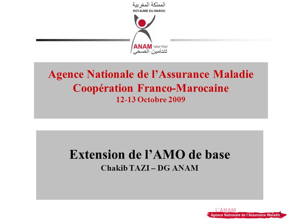 1 Agence Nationale de lAssurance Maladie Coopération Franco-Marocaine 12-13 Octobre 2009 Extension de lAMO de base Chakib TAZI – DG ANAM