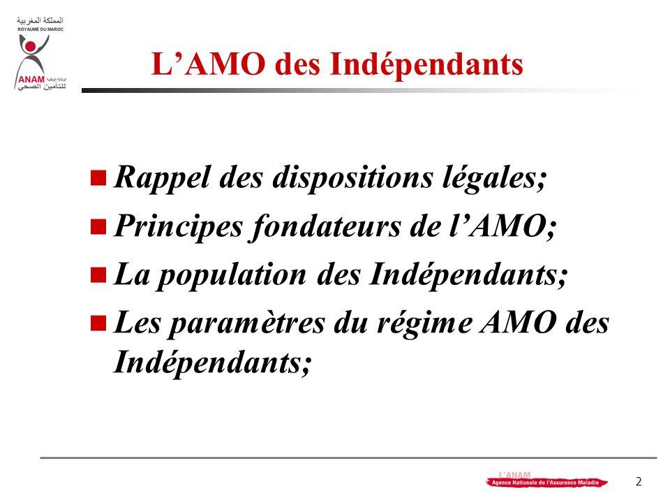 2 LAMO des Indépendants Rappel des dispositions légales; Principes fondateurs de lAMO; La population des Indépendants; Les paramètres du régime AMO des Indépendants;