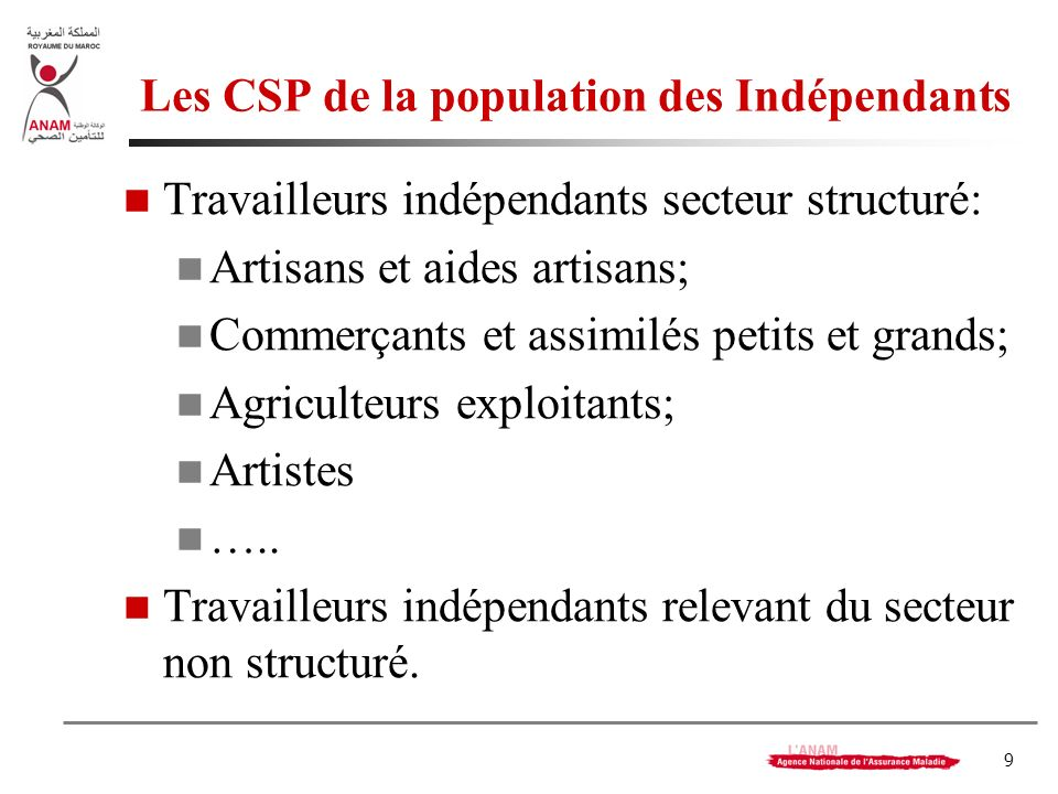 9 Les CSP de la population des Indépendants Travailleurs indépendants secteur structuré: Artisans et aides artisans; Commerçants et assimilés petits et grands; Agriculteurs exploitants; Artistes …..