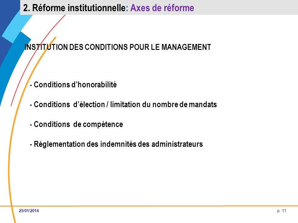 p. 11 INSTITUTION DES CONDITIONS POUR LE MANAGEMENT - Conditions dhonorabilité - Conditions délection / limitation du nombre de mandats - Conditions d