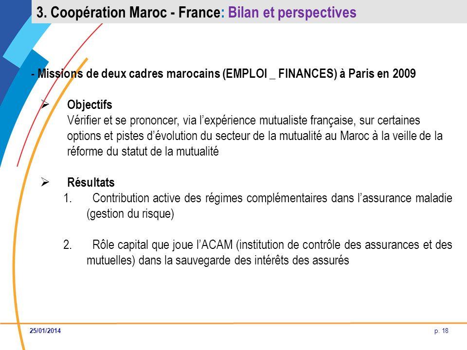 p. 18 - Missions de deux cadres marocains (EMPLOI _ FINANCES) à Paris en 2009 Objectifs Vérifier et se prononcer, via lexpérience mutualiste française