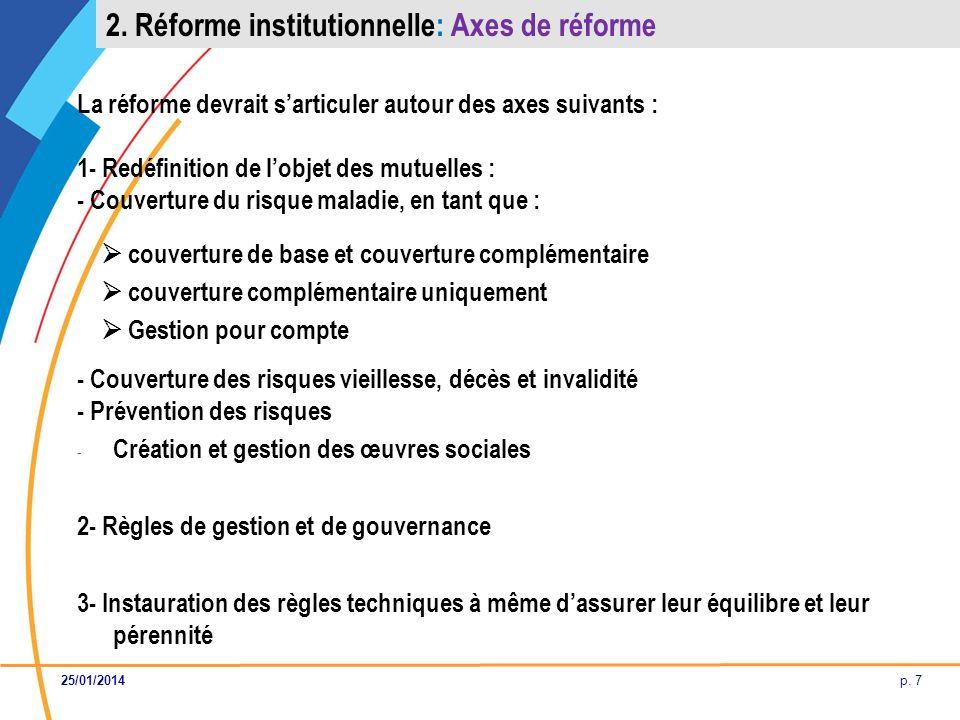 p. 7 La réforme devrait sarticuler autour des axes suivants : 1- Redéfinition de lobjet des mutuelles : - Couverture du risque maladie, en tant que :