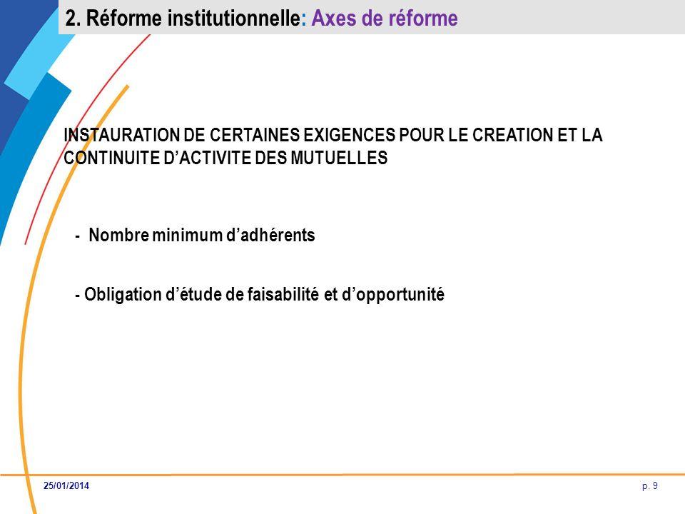 p. 9 INSTAURATION DE CERTAINES EXIGENCES POUR LE CREATION ET LA CONTINUITE DACTIVITE DES MUTUELLES - Nombre minimum dadhérents - Obligation détude de