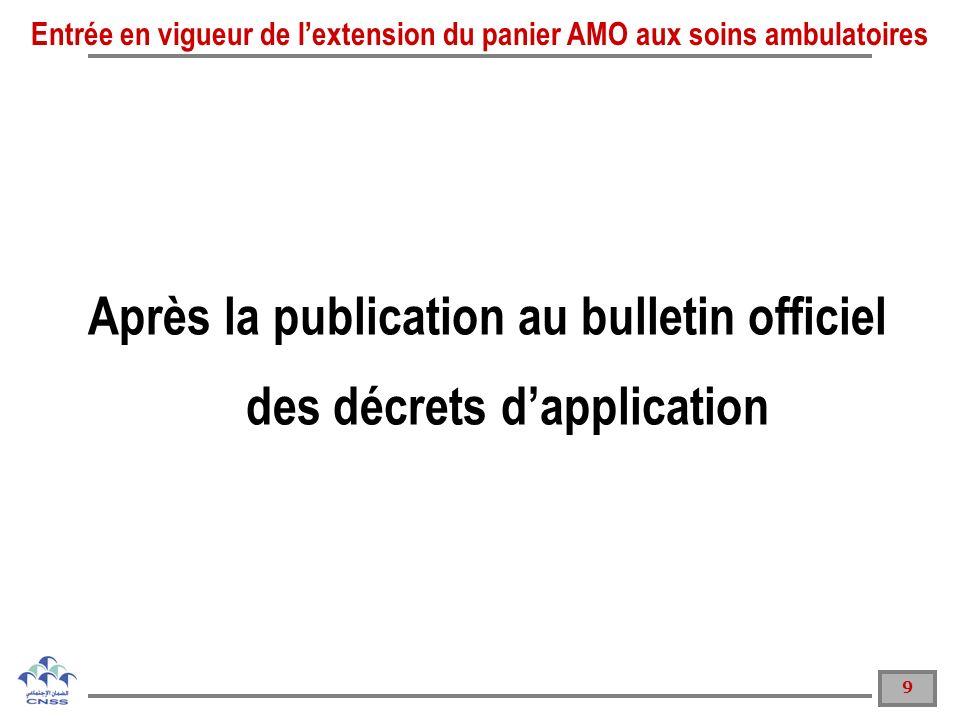 9 Après la publication au bulletin officiel des décrets dapplication Entrée en vigueur de lextension du panier AMO aux soins ambulatoires