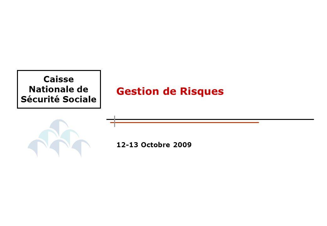 12-13 Octobre 2009 Gestion de Risques Caisse Nationale de Sécurité Sociale
