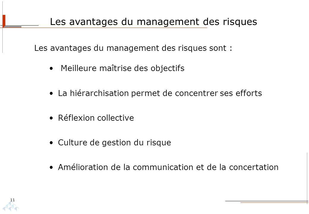 11 Les avantages du management des risques Les avantages du management des risques sont : Meilleure maîtrise des objectifs La hiérarchisation permet d