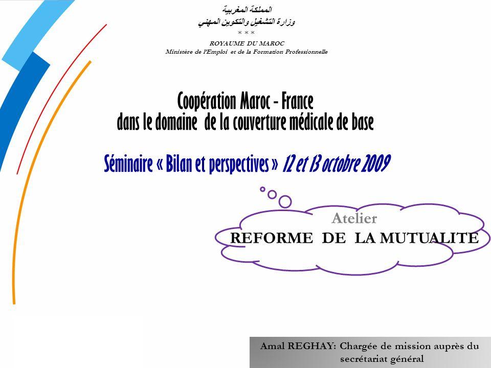 Coopération Maroc - France dans le domaine de la couverture médicale de base Séminaire « Bilan et perspectives » 12 et 13 octobre 2009 المملكة المغربي