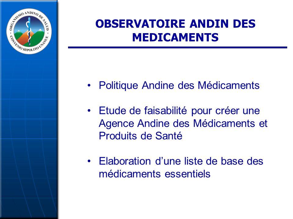OBSERVATOIRE ANDIN DES MEDICAMENTS Politique Andine des Médicaments Etude de faisabilité pour créer une Agence Andine des Médicaments et Produits de Santé Elaboration dune liste de base des médicaments essentiels