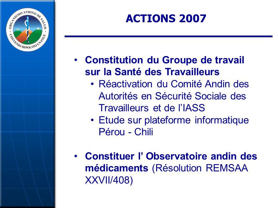 ACTIONS 2007 Constitution du Groupe de travail sur la Santé des Travailleurs Réactivation du Comité Andin des Autorités en Sécurité Sociale des Travailleurs et de lIASS Etude sur plateforme informatique Pérou - Chili Constituer l Observatoire andin des médicaments (Résolution REMSAA XXVII/408)